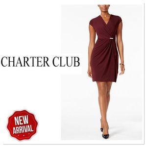 Charter Club Faux Wrap Dress Dried Currant PXL